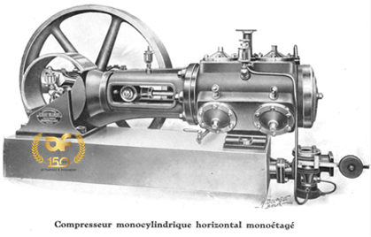 Single stage, single cylinder horizontal air compressor, powered by steam engine (before 1890) produced by Etablissements François.