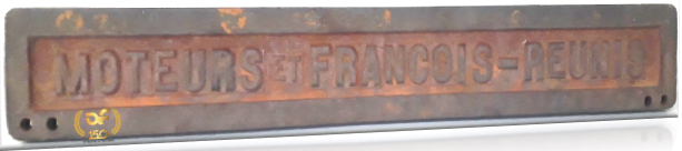 "Original cast iron name plate of a""François compressor"", 19th century production."