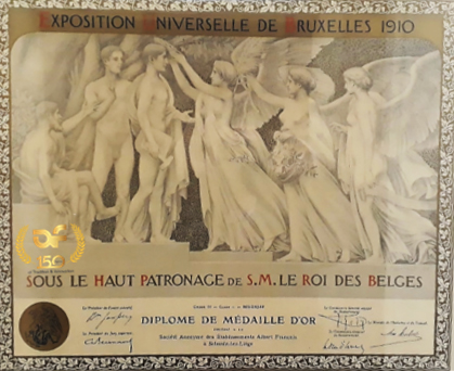 1910. Brussels Universal Exhibition.  Gold medal diploma for Etablissements Albert François.