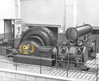 Horizontal 2-stage double acting compressors with asynchrony & synchrony motor. ca. 1900.