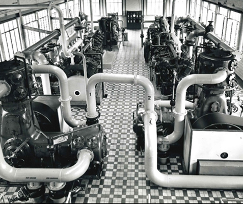 A state of the art compressor room ca. 1935.