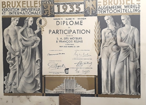 1935. Brussels universal and international exhibition.  Certification of participation.