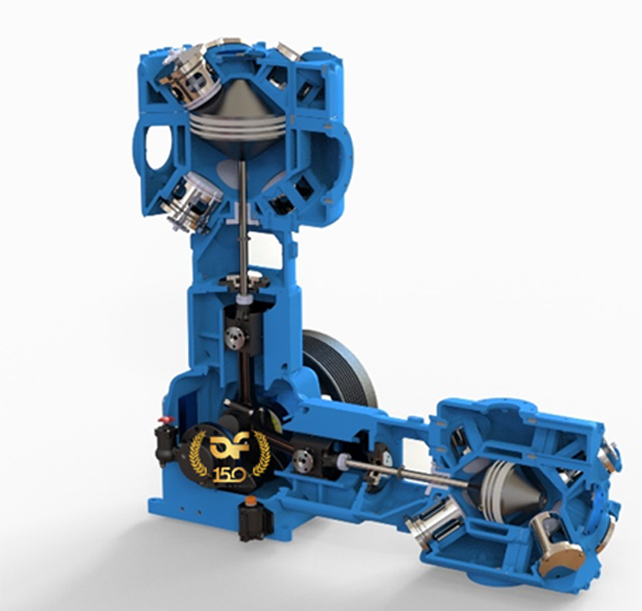 Innovative mechanical engineering for the new oil free piston reciprocating air compressor OPC-110